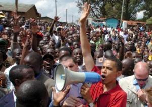 Obama in Kenya..Same idea, different crowd