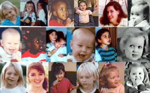 pictured: children murdered by the U.S. government during the Waco Massacre]