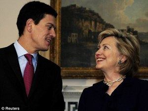 Pals Miliband and Hillary Clinton